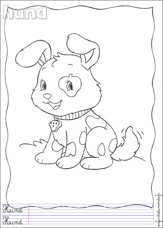 Coloriage des bebe animaux domestique - Coloriage chien ...