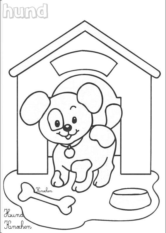 Coloriage Chien 4 Coloriages Animaux Domestiques En Allemand