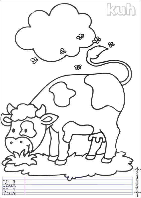 Coloriage Animaux Vache.Coloriage Vache 3 Coloriages Animaux De La Ferme En Allemand