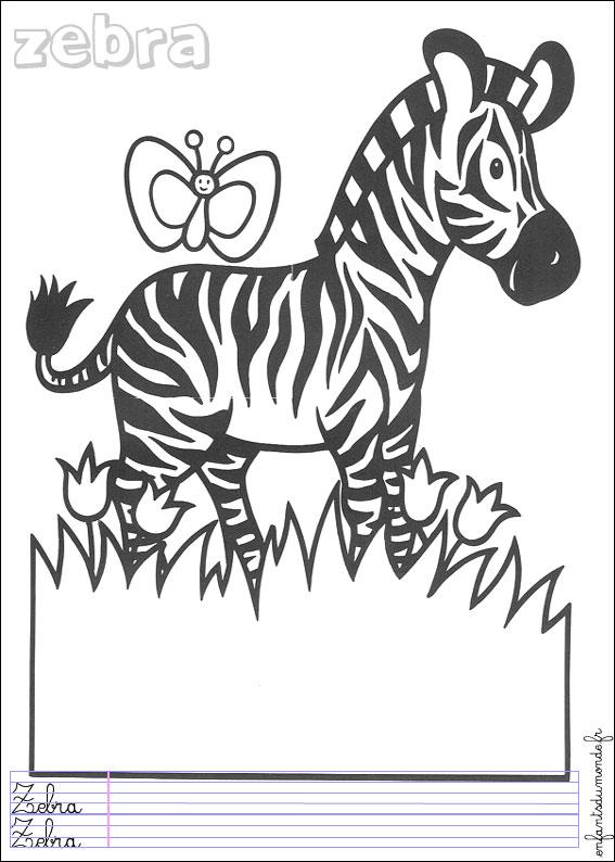 Coloriage zebre 1 coloriages animaux de la jungle en - Coloriage animaux jungle ...
