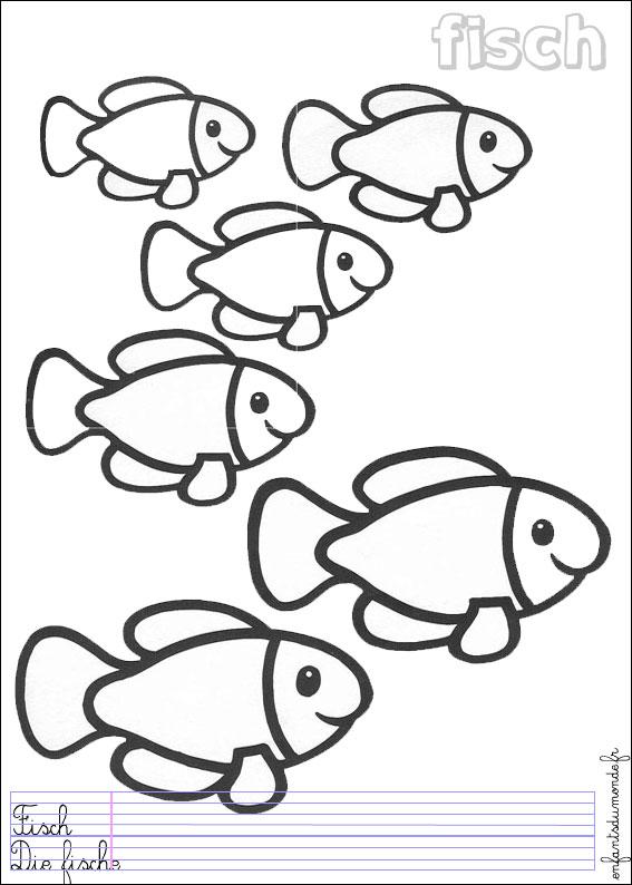 Coloriage poisson 1 coloriages animaux marins en allemand - Dessin d animaux marins ...