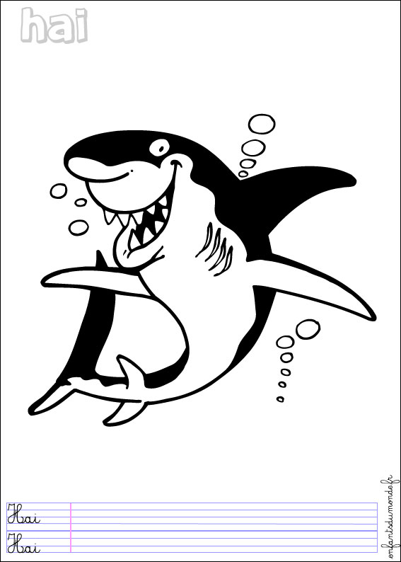Coloriage requin 1 coloriages animaux marins en allemand - Requin en dessin ...