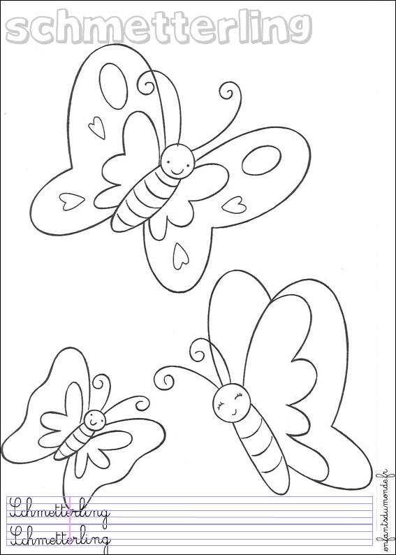 coloriage papillon 2 coloriages insectes en allemand. Black Bedroom Furniture Sets. Home Design Ideas