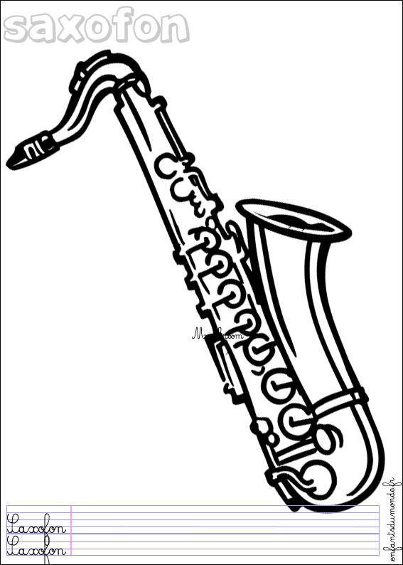 Dessin Saxophone coloriage saxophone 1 .:. coloriages objets de musique en allemand