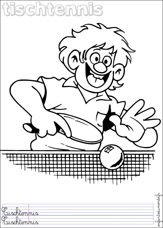 Coloriage tennis table 1 coloriages sports de balle en for A table en allemand