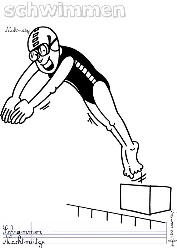 Coloriage natation 1 coloriages sports d 39 eau en allemand - Natation dessin ...