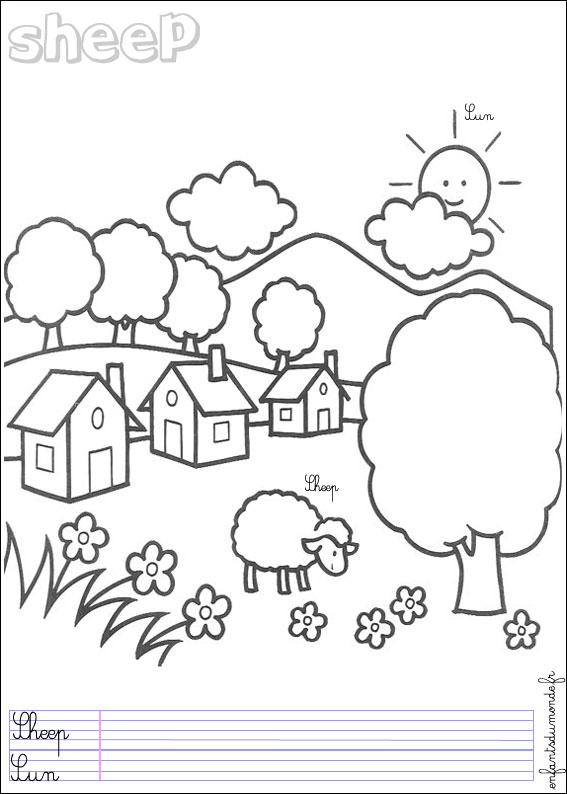 Coloriage Mouton 1 Coloriages Animaux De La Ferme En Anglais