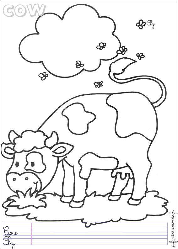 Coloriage vache 3 coloriages animaux de la ferme en anglais - Coloriage de fermier ...