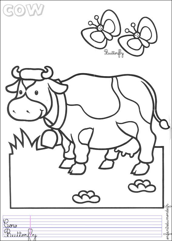 Coloriage vache 4 coloriages animaux de la ferme en - Vache dessin facile ...