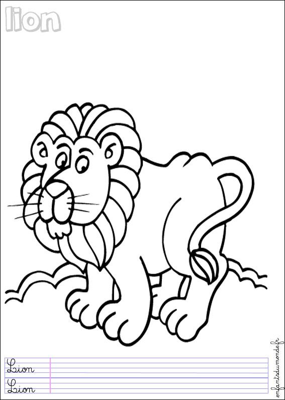 coloriage lion 2 coloriages animaux de la jungle en anglais. Black Bedroom Furniture Sets. Home Design Ideas