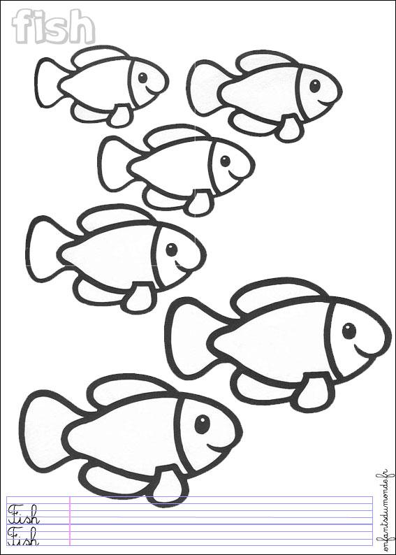 Coloriage poisson 1 coloriages animaux marins en anglais - Dessin de poisson facile ...