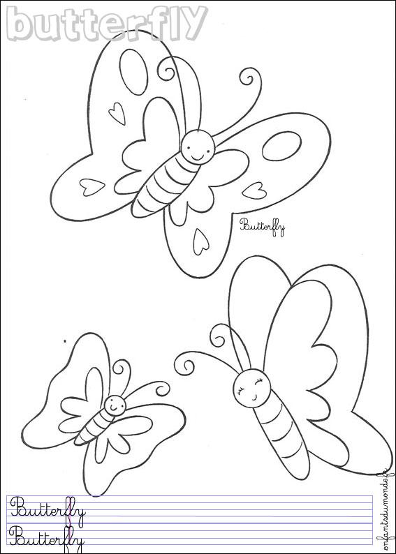 Coloriage Papillon Et Abeille.Index Of Anglais Insectes