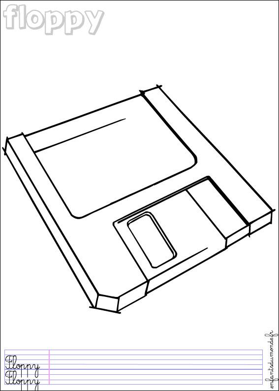 Coloriage Disquette 1 Coloriages Objets Informatiques En Anglais