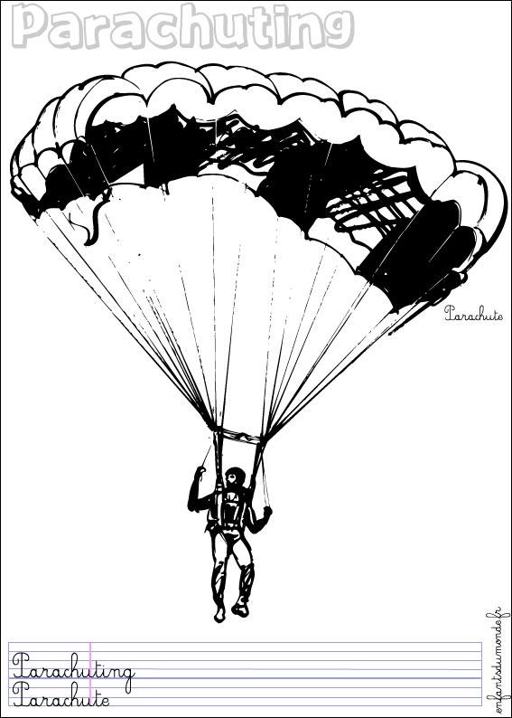 Coloriage parachutisme 1 coloriages sports a riens en - Dessin parachutiste ...