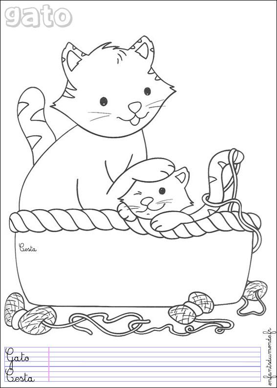 Coloriage chat 1 coloriages animaux domestiques en - Coloriage espagnol ...