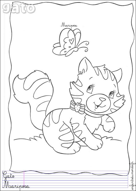 Coloriage chat 3 coloriages animaux domestiques en - Coloriage espagnol ...