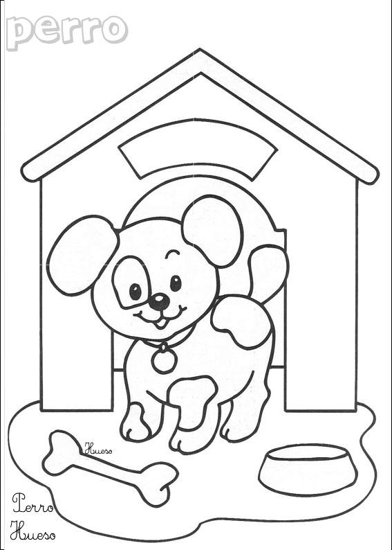 Coloriage chien 4 coloriages animaux domestiques en espagnol - Photo de chiot a imprimer ...