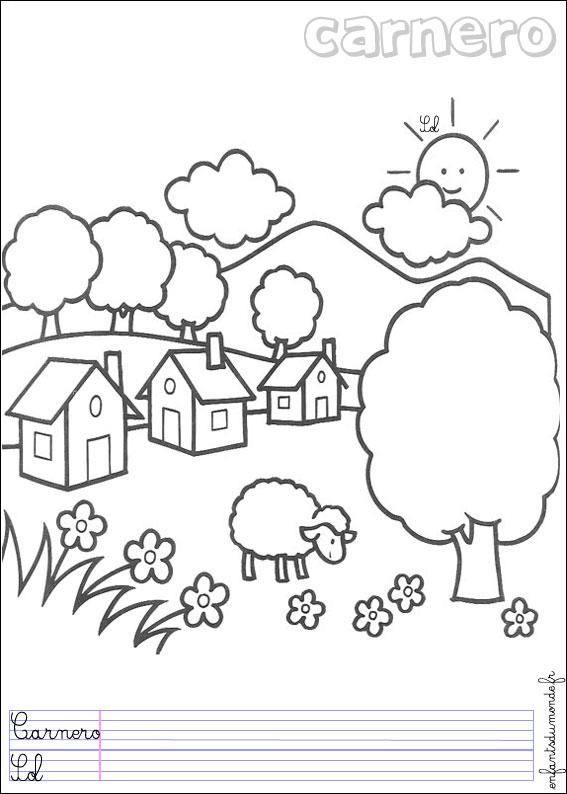 Coloriage mouton 1 coloriages animaux de la ferme en - Mouton en dessin ...
