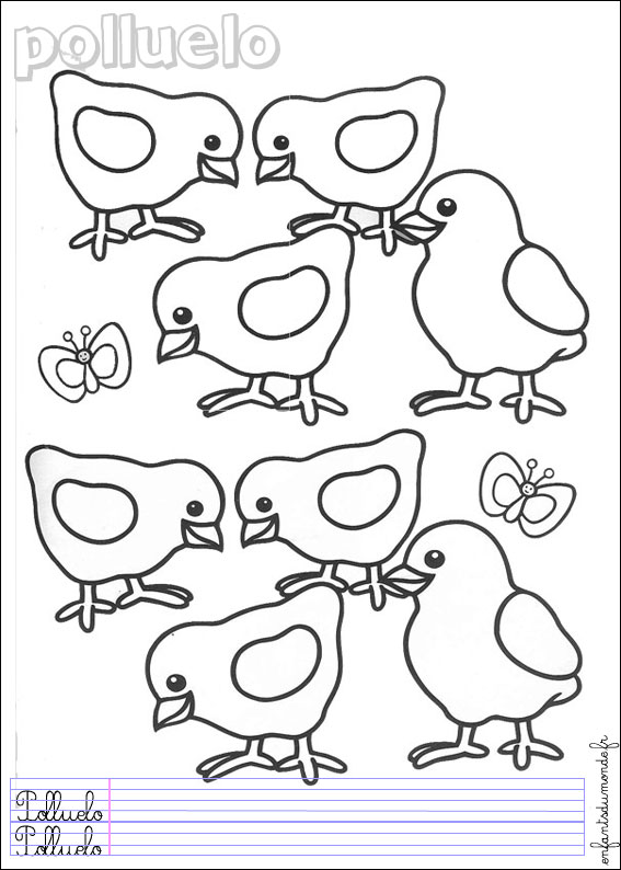 coloriage poussin 1 coloriages animaux de la ferme en espagnol. Black Bedroom Furniture Sets. Home Design Ideas