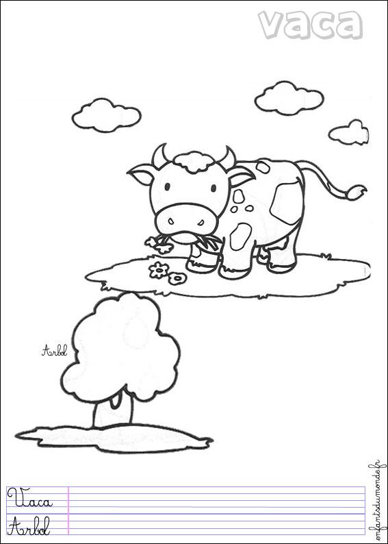 Coloriage vache 1 coloriages animaux de la ferme en - Coloriage espagnol ...
