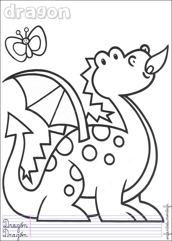 Coloriage dragon 1 coloriages animaux pr historiques - Coloriages dragon ...