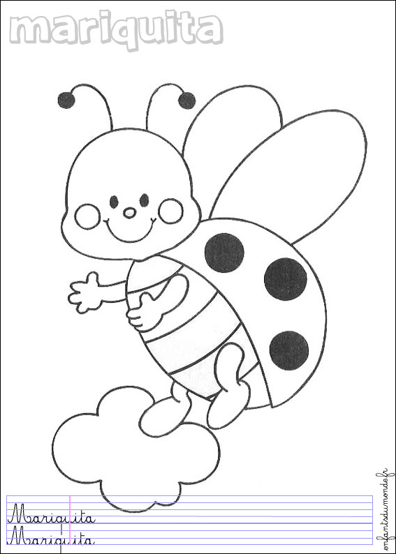 Coloriage Coccinelle.Coloriage Coccinelle 1 Coloriages Insectes En Espagnol