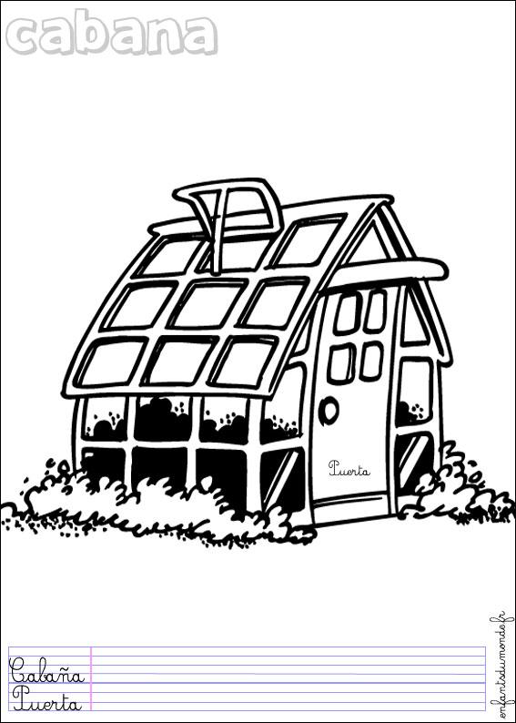 Coloriage cabane 1 coloriages objets de jardinage en - Coloriage de cabane ...