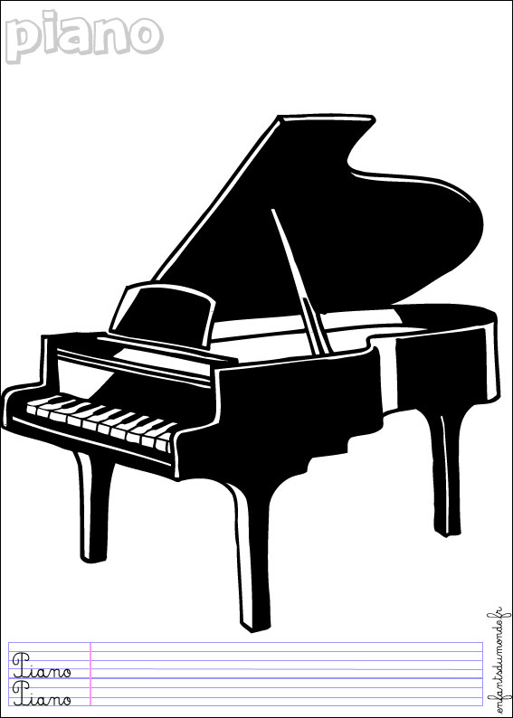 Dessin piano - Coloriage piano ...