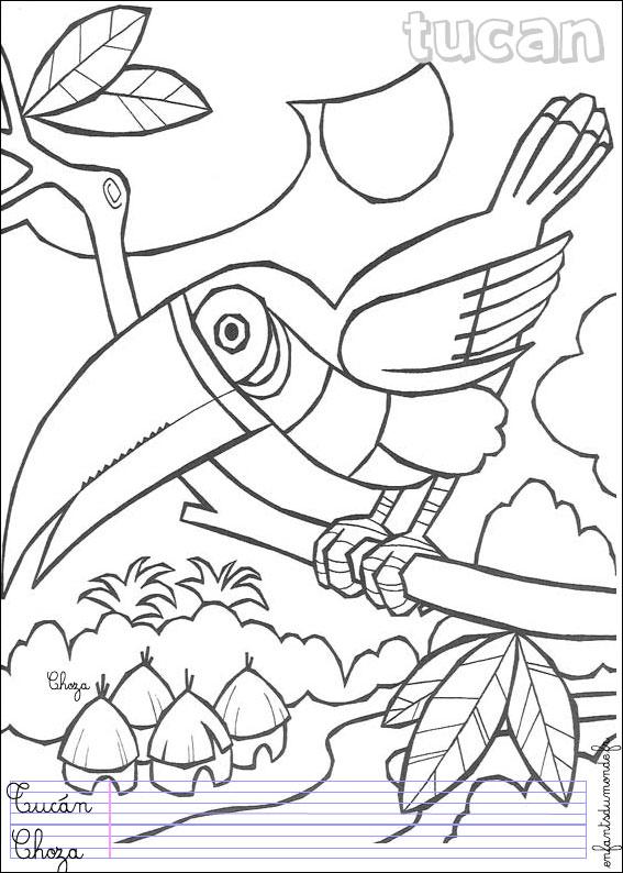 Coloriage toucan 1 coloriages oiseaux en espagnol - Coloriage espagnol ...