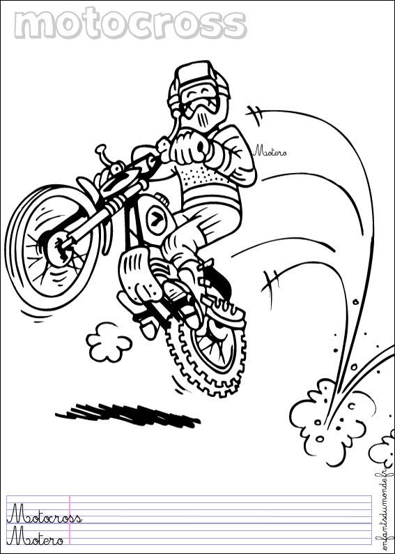 Coloriage moto 2 coloriages sports de course en espagnol - Coloriage moto de course a imprimer ...