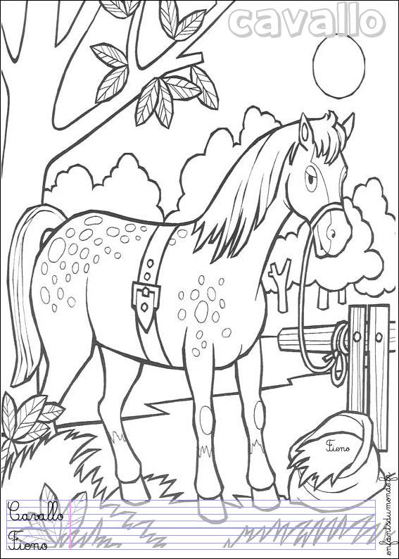 Coloriage cheval 1 coloriages animaux de la ferme en - Coloriage des chevaux ...