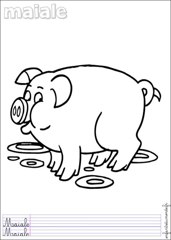 Coloriage Ferme Cochon.Coloriage Cochon 1 Coloriages Animaux De La Ferme En Italien