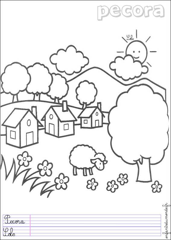 Coloriage Ferme Mouton.Coloriage Mouton 1 Coloriages Animaux De La Ferme En Italien