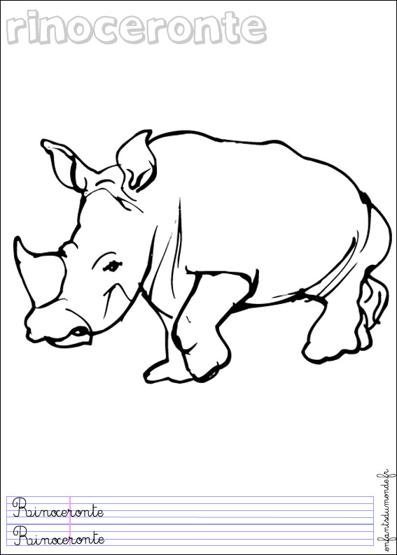 Coloriage rhinoceros 1 coloriages animaux de la jungle - Coloriage animaux de la jungle ...