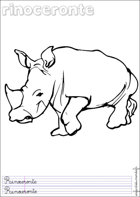 Coloriage rhinoceros 1 coloriages animaux de la jungle - Coloriage animaux jungle ...