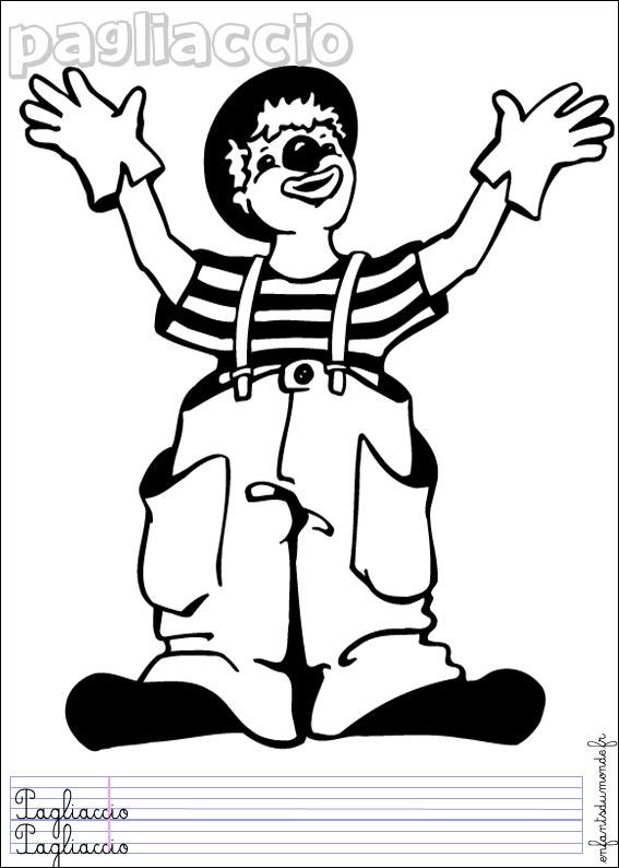 Coloriage Clown 1 Coloriages Metiers Du Cirque En Italien
