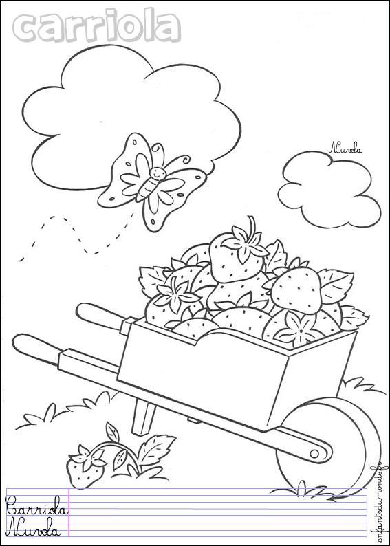 coloriage brouette 1 coloriages objets de jardinage en italien. Black Bedroom Furniture Sets. Home Design Ideas