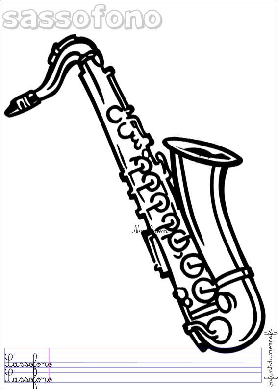 Coloriage saxophone 1 coloriages objets de musique en - Dessin saxophone ...