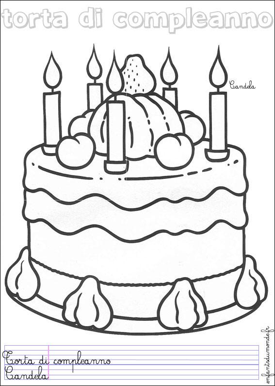 Coloriage gateau anniversaire 1 coloriages nourriture en italien - Gateaux anniversaire dessin ...