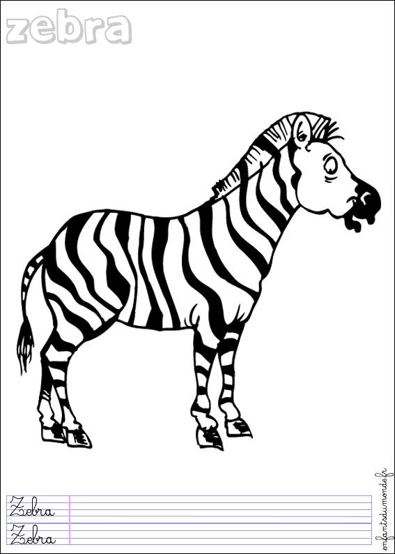 Coloriage Zebre 2 Coloriages Animaux De La Jungle En Allemand