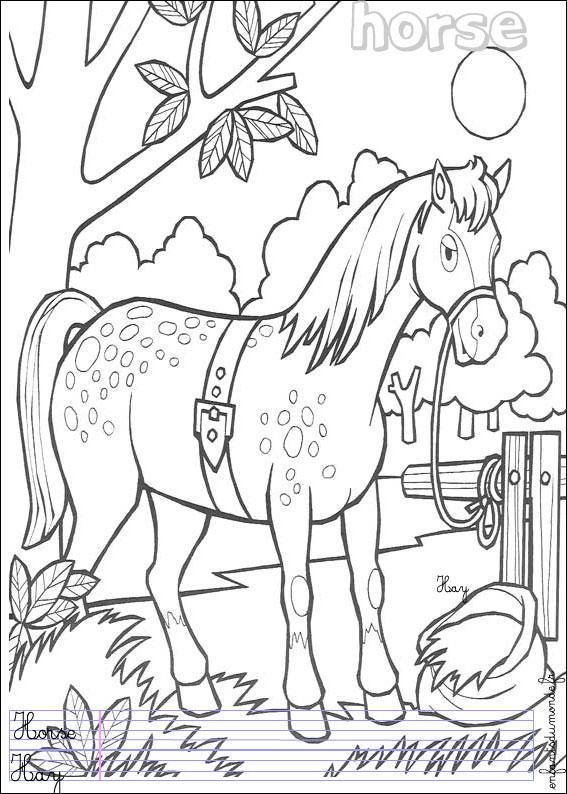 Coloriage Cheval 1 Coloriages Animaux De La Ferme En Anglais